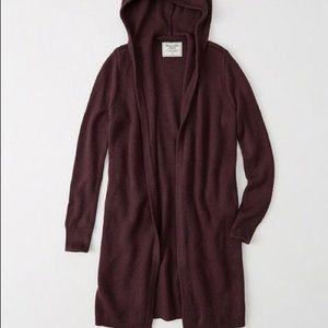 Abercrombie burgundy long cardigan